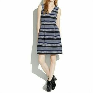 Madewell Gallerist Ponte V-Neck Dress in Stripemix